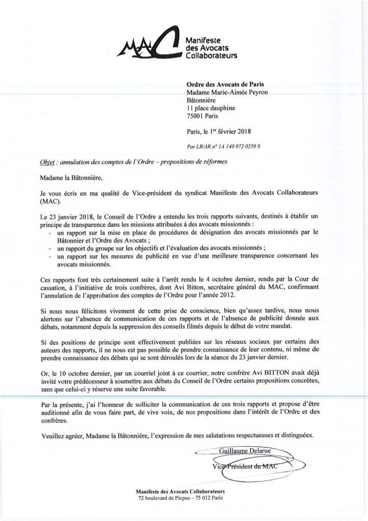 MAC - Lettre Bâtonnier transparence - 1 février 2018 - Image