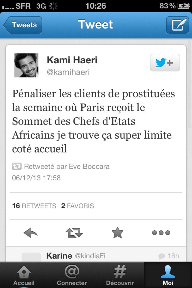 Tweet Kami Haeri sur chefs Etats africains